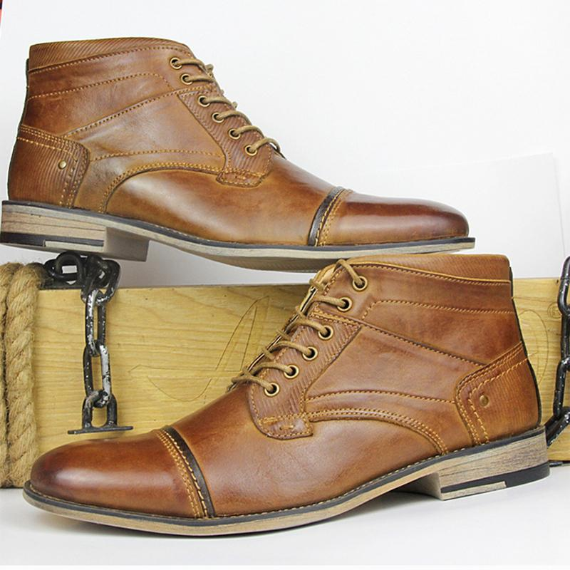 Classic Men Ankle High-top Lace-Up Shoes