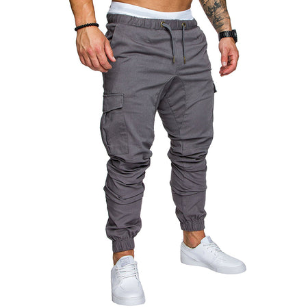Men Casual Fashion Solid Color Tether Elastic Sweatpants
