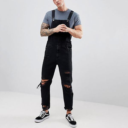 Men's Denim Ripped Solid Color Jumpsuits