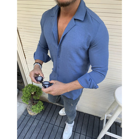 Men's Lapel Long Sleeve Thin Shirts