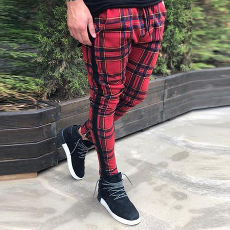 Casual Plaid Slim Fit Pants