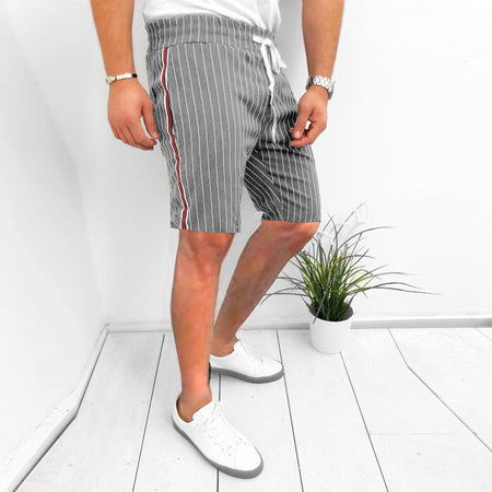 Elastic Waist Striped Loose Short Pants