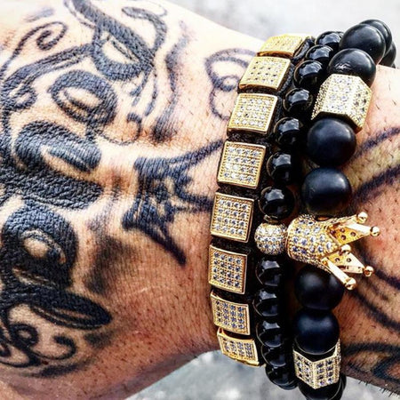 Men King Crown Beaded Bracelet Set