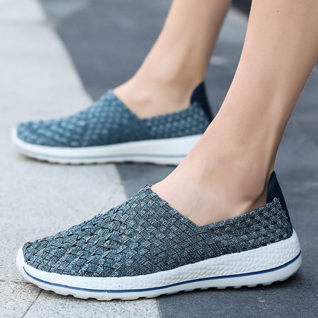 Men Woven Style Light Weight Slip On Casual Walking Shoes