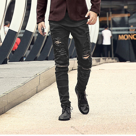 Black Zipper Biker Ripped Denim Pants