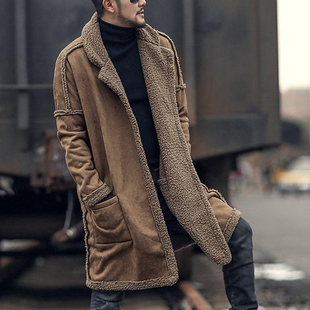Pure Color Plus Velvet Men's Long Sweater Coat