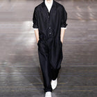 Men Button Overalls Personality Stage Jumpsuit