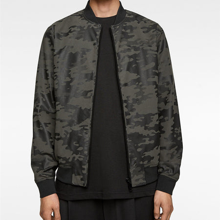 Camouflage Men's Stand Up Collar Loose Leather Jacket Coat