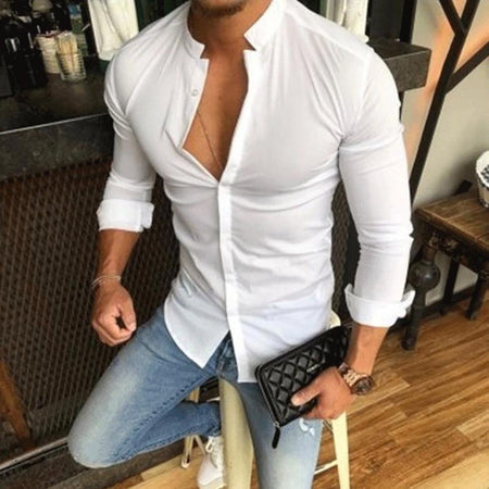 Casual Stand Collar Solid Color Slim Long-Sleeved Shirt