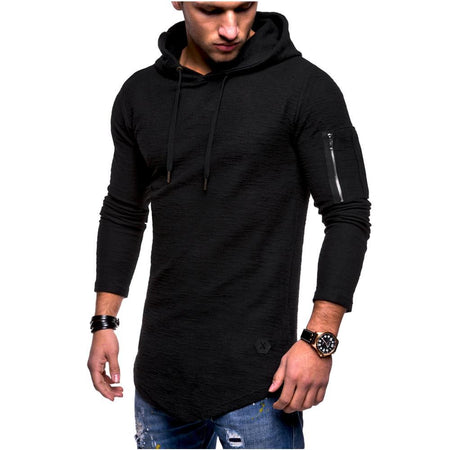 Men Fashion Plain Solid Color Long Sleeves Leisure Round Collar Hoodie