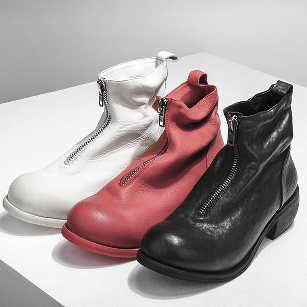 Fashion Leather Solid Color High Top Boots