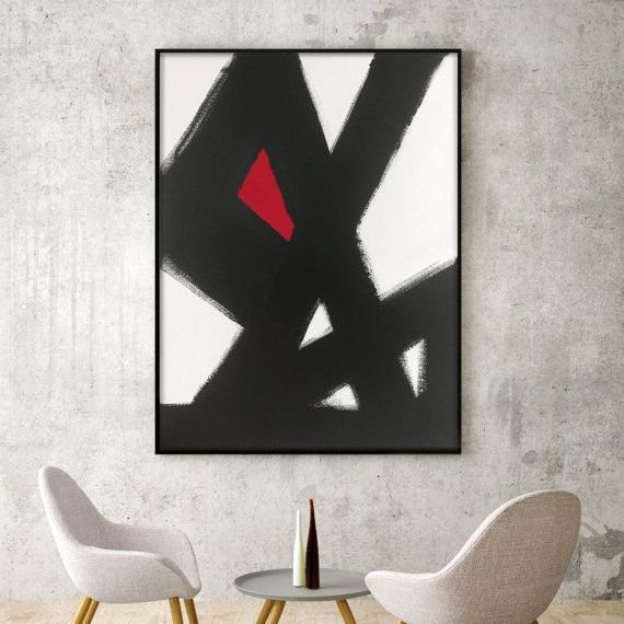 black white red painting