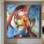 Original Abstract Painting Colorful Painting Face Abstract Art Painting Abstract Oil Canvas Painting  | INTUITION