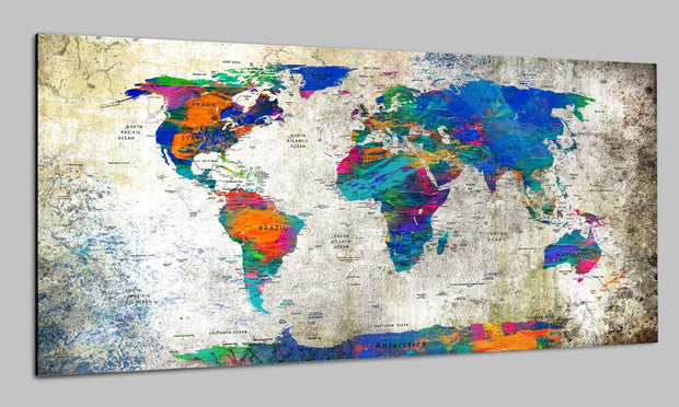 Luxury Original Pin Maps on Canvas Colorful Print On Beige Background Travel Wall Map Set Office Wall Art Decor on Canvas | PRINT ON CANVAS #257 - Trend Gallery Art | Original Abstract Paintings