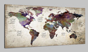 Travel Push Pin World Map on Canvas Old World Map Colorful Stylize Wall Map Set Office Wall Art Photo Decor on Canvas | PRINT ON CANVAS #296 - Trend Gallery Art | Original Abstract Paintings