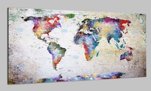 Printable Original Travel World Maps on Canvas Colorful Push Pin Print Watercolor Modern Print Travel Wall Map Set Office Wall Art Decor on Canvas | PRINT ON CANVAS #259 - Trend Gallery Art | Original Abstract Paintings