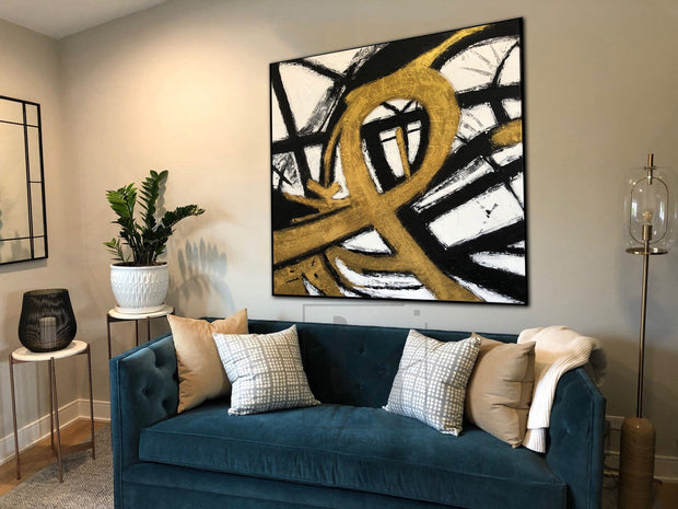 Gold Painting Black And White Wall Art Original Painting On Canvas | LOOP OF INFINITY - Trend Gallery Art | Original Abstract Paintings