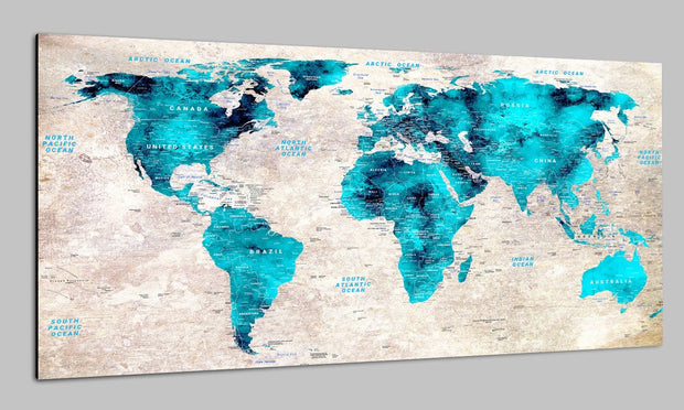 Travel Modern Push Pin World Map Wall Art Original Decor Turquoise World Contemporary Map Set Office Wall Print Photo Decor on Canvas | PRINT ON CANVAS #240 - Trend Gallery Art | Original Abstract Paintings