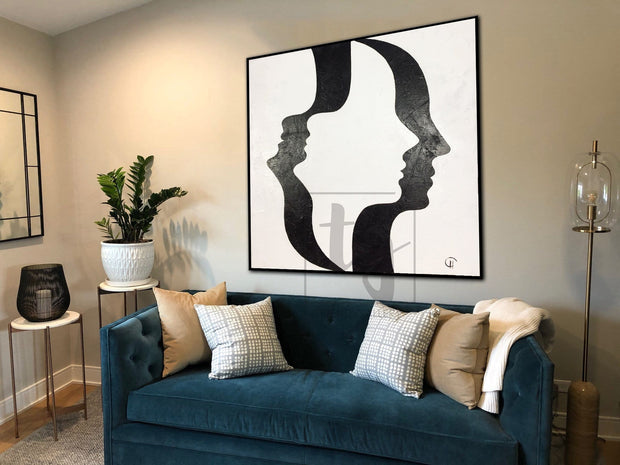 Black And White Fashion Art Extremely Unique Painting On Canvas Original Black And White Art Abstract Face Painting | OPTICAL ILLUSION - Trend Gallery Art | Original Abstract Paintings