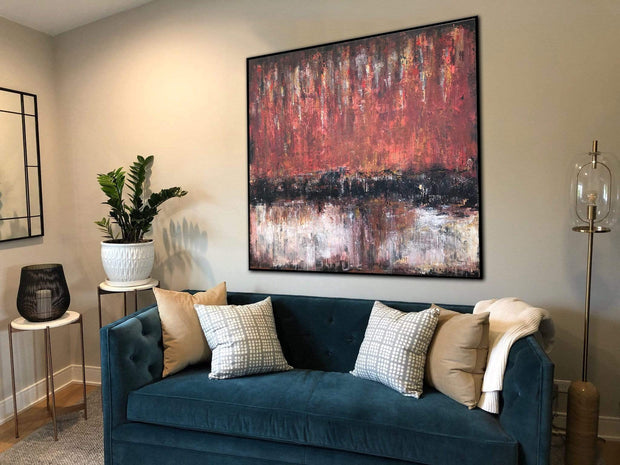 Wall Large Canvas Art Hand Art Oil Painting Abstract Red Wall Art Oil Canvas Painting Home Decor Wall Art Large | FIRE - Trend Gallery Art | Original Abstract Paintings