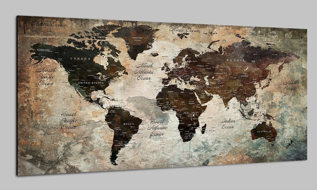 Great Push Pin Travel Map Beige Wall Art Colorful Print Photo on Canvas Old World Map Set | PRINT ON CANVAS #237 - Trend Gallery Art | Original Abstract Paintings
