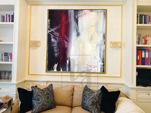 Abstract Art in Light White, Black and Red | WANDERING DREAMS - Trend Gallery Art | Original Abstract Paintings
