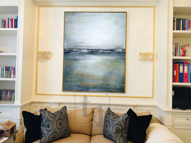Abstract Marine Painting in Navy, Grey and White | AT SEA - Trend Gallery Art | Original Abstract Paintings