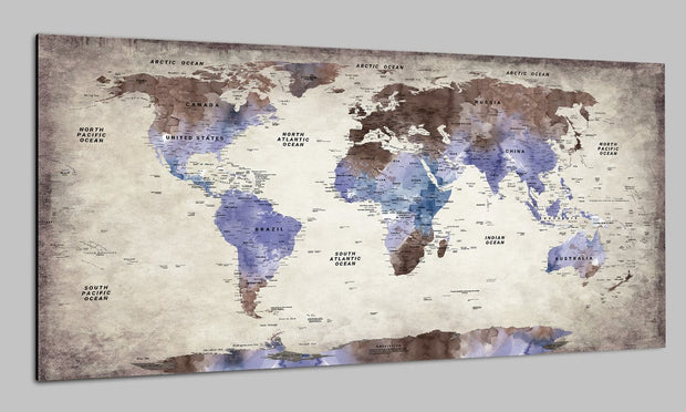 Travel Antique World Maps Push Pin Watercolor on Canvas Blue Print Brown Print Modern Wall Map Set Office Wall Art Photo Decor on Canvas | PRINT ON CANVAS #247 - Trend Gallery Art | Original Abstract Paintings