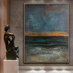Abstract Art Original Painting Sunset Horizon | STORMY OCEAN