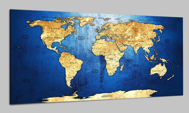 Large Original World Maps Push Pin on Canvas Old World Style On Blue Background Yellow Continent Original Wall Map Set Office Wall Art Decor on Canvas | PRINT ON CANVAS #252 - Trend Gallery Art | Original Abstract Paintings