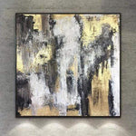 Black And White Painting Gold Leaf Modern Painting Oversized Abstract Painting On Canvas | ENERGY FLOWS