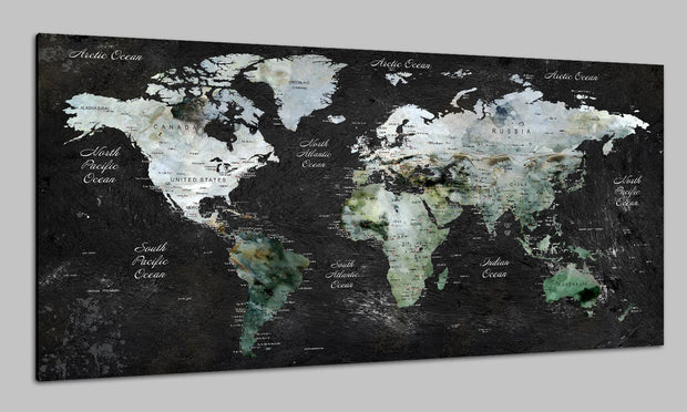 Modern Stylized World Map Colorful Wall Poster Pushpin Print Photo Map Set Art Contemporary Art Photo Decor on Canvas | PRINT ON CANVAS #228 - Trend Gallery Art | Original Abstract Paintings