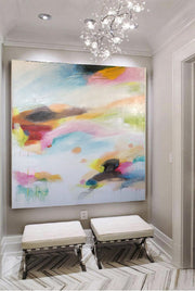 Large Original Abstract Art Contemporary Colorful Acrylic Canvas Art White Painting Artwork Original | WATERCOLOR SUNSET - Trend Gallery Art | Original Abstract Paintings