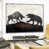 Stock Exchange Painting Creative Large Stock Exchange Artwork Original Stock Exchange | BULL AGAINST BEAR - Trend Gallery Art | Original Abstract Paintings