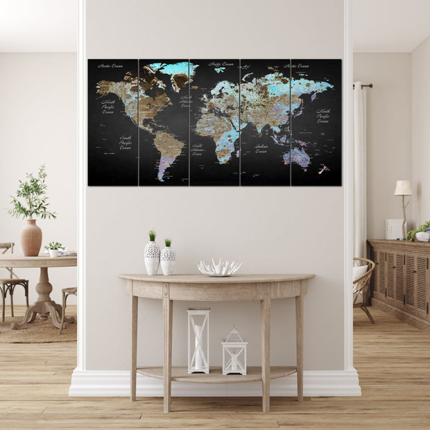 Travel World Map Push Pin of the World Black Wall Poster Pushpin Print Photo Map Set Set Office Wall Art Photo Decor on Canvas | PRINT ON CANVAS #230 - Trend Gallery Art | Original Abstract Paintings