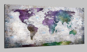 Original Modern Travel Push Pin World Map Wall Art Colorful Decor With Old Stylize Background World Contemporary Map Set Office Wall Print Photo Decor on Canvas | PRINT ON CANVAS #241 - Trend Gallery Art | Original Abstract Paintings