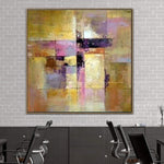 Gold Painting Pink Painting Contemporary Art Painting Canvas | GOLDEN STAINED GLASS
