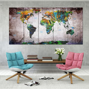 Great Travel Pin Maps on Canvas Colorful Push Pin Print Wall Map Set Office Wall Art Decor on Canvas | PRINT ON CANVAS #258 - Trend Gallery Art | Original Abstract Paintings