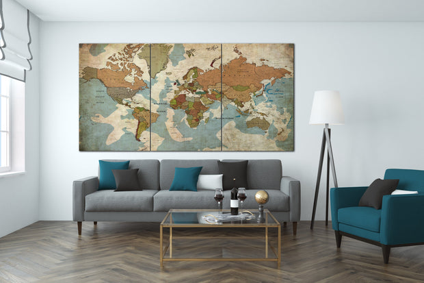 Frameless Push Pin World Maps Wall Art Old World Stylize Map Horizontal World Print on Canvas Set Office Wall Print Decor on Canvas | PRINT ON CANVAS #250 - Trend Gallery Art | Original Abstract Paintings