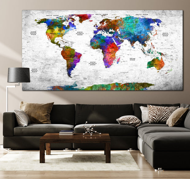 Travel Push Pin Colorful World Maps on Canvas Multi-Colored Style On White Background Original Wall Map Set Office Wall Art Decor on Canvas | PRINT ON CANVAS #253 - Trend Gallery Art | Original Abstract Paintings