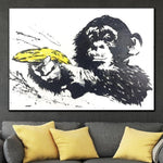 Original Monkey With Banana Gun Painting Funny Abstract Oil Painting Monkey With Banana Gun Paintings On Canvas | GIVE UP