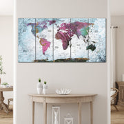 Print Push Pin World Map World Travel Map Colorful Poster Print Wall Art | PRINT ON CANVAS #305 - Trend Gallery Art | Original Abstract Paintings