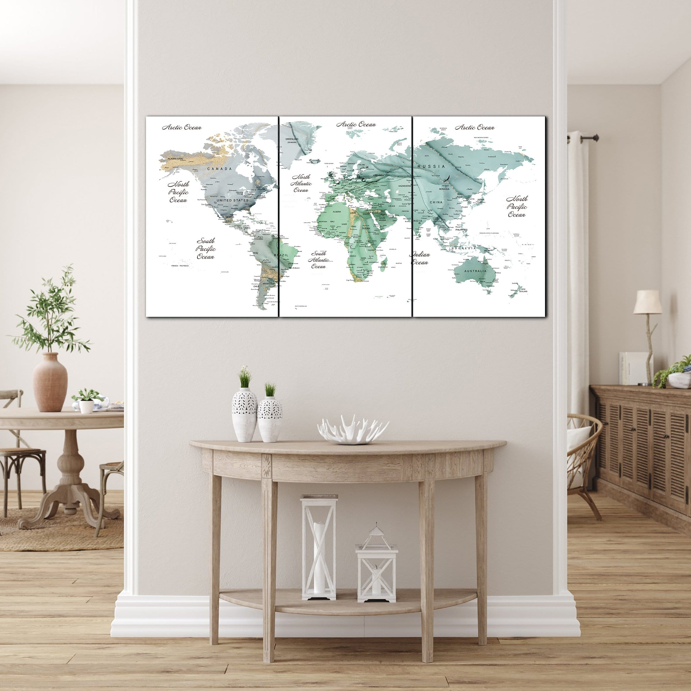 Oversized Print Watercolor Print On Canvas Travel Wall Art Green Map W Trend Gallery Art Original Abstract Paintings