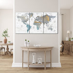 Oversize Wall Art Watercolor Print Map Print Canvas Colorful World Map Push Artwork And Print For Wall Map Of The World Exclusive Home Decor  | PRINT ON CANVAS #558