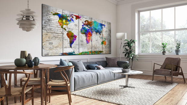 Large Original Push Pin Colorful World Maps on Canvas Multi-Colored Style Contemporary Print Original Wall Map Set Office Wall Art Decor on Canvas | PRINT ON CANVAS #254 - Trend Gallery Art | Original Abstract Paintings