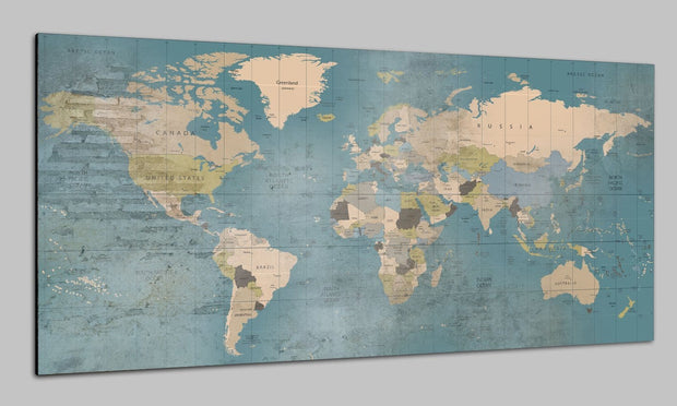 Printable Push Pin Map of the World Colorful Wall Poster Pushpin Print Photo Map Set Set Office Wall Art Photo Decor on Canvas | PRINT ON CANVAS #229 - Trend Gallery Art | Original Abstract Paintings