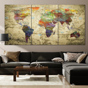 Travel World Maps Push Pin on Canvas Colorful Old World Style On Beige Background Original Wall Map Set Office Wall Art Photo Decor on Canvas | PRINT ON CANVAS #251 - Trend Gallery Art | Original Abstract Paintings
