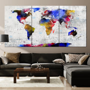 Colorful World Maps Push Pin on Canvas White Background Contemporary Wall Map Set Office Wall Art Photo Decor on Canvas | PRINT ON CANVAS #248 - Trend Gallery Art | Original Abstract Paintings