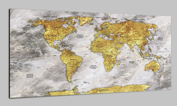 Original Push Pin Map of the World on Canvas Old World Map Older Stylize Wall Map Set Office Wall Art Photo Decor on Canvas | PRINT ON CANVAS #235 - Trend Gallery Art | Original Abstract Paintings