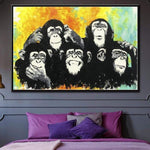 Original Painting Abstract Large Animal Wall Art Monkey Canvas Oil | CHIMPS